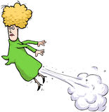 Farting Woman Flying Through The Air Stock Images