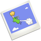 Farting woman in the sky polaroid illustration. Royalty Free Stock Images