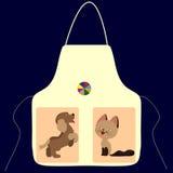 Fartuch z obrazkiem kota psa piłka Zdjęcia Stock