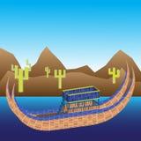 Fartyg av titicacasjön, berg och kakturs Royaltyfri Fotografi