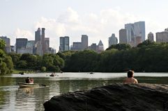 fartyg Central Park Royaltyfri Foto