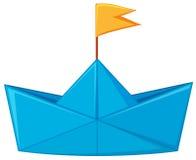 Fartyg för blått papper med den gula flaggan royaltyfri illustrationer