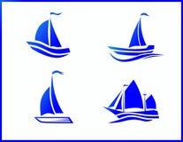 Fartyg för materielvektorsymboler på havet vektor illustrationer