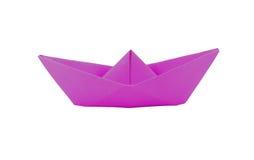 Fartyg för origamirosa färgpapper Fotografering för Bildbyråer