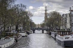 Fartyg i Amsterdam Arkivbilder