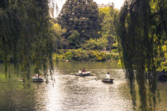 Fartyg i Central Park sjön Royaltyfri Bild
