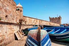 Fartyg i Essaouira, Marocko Royaltyfri Foto