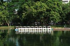 Fartyg i and formar ett offentligt parkerar i Bangkok, Thailand Royaltyfria Bilder