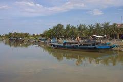 Fartyg i Hoi An Royaltyfri Foto