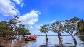 Fartyg i lagunen Arkivbild