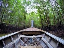 Fartyg i mangroveskog på Kabri Thailand Royaltyfri Bild