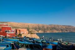 Fartyg i port av Imsouane Marocko 10 januari 2017 Arkivbilder