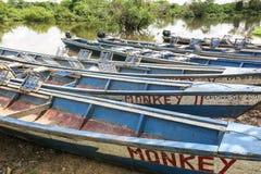 Fartyg i porten på den Madidi floden Royaltyfria Bilder