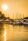 Fartyg Marina Sunset Arkivbilder