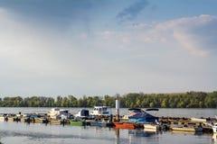 Fartyg och skepp ankrade på den Zemun kajen på Danubet River i Belgrade, Serbien Arkivbilder