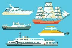 Fartyg och skepp i för PIXELkonst för 8 bit stil royaltyfri illustrationer