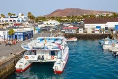 Fartyg och yachter i den Rubicon marina, Lanzarote, kanariefågelöar, Spanien Royaltyfri Fotografi