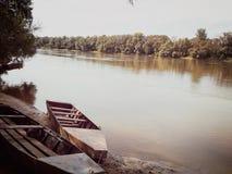 Fartyg på den Drava floden royaltyfri foto