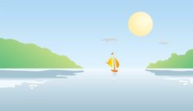 Fartyg på floden på solnedgången Royaltyfria Bilder