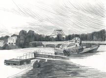 Fartyg på floden, stadsinvallningen, drawingng arkivfoton