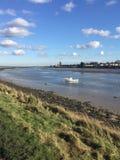 Fartyg på flodhopkrupna ställningen Essex UK Fotografering för Bildbyråer