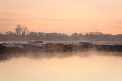 Fartyg på flodThemsen i Oxford Royaltyfri Fotografi