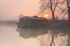 Fartyg på flodThemsen i Oxford Royaltyfria Foton