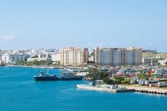 Fartyg på kust av Puerto Rico Fotografering för Bildbyråer
