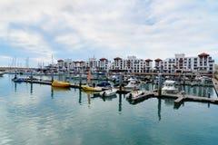 Fartyg på marina i den Agadir staden, Marocko Royaltyfria Foton