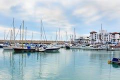 Fartyg på marina i den Agadir staden, Marocko Arkivbilder