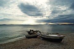 Fartyg på sandstranden Royaltyfri Fotografi