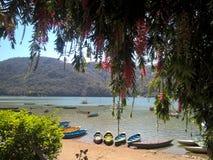 Fartyg på sjön av Pokhara, Nepal Royaltyfri Fotografi
