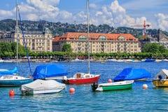 Fartyg på sjön Zurich i Schweiz Royaltyfri Foto