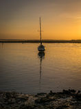 Fartyg på solnedgången Royaltyfri Fotografi