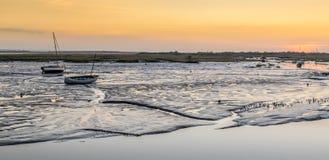 Fartyg på solnedgången Arkivfoto