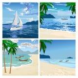 Fartyg på stranden blå vektor för sky för oklarhetsbildregnbåge vektor illustrationer