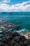 Fartyg på tropisk strand Arkivbilder