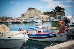Fartyg på Zakynthos Royaltyfria Foton