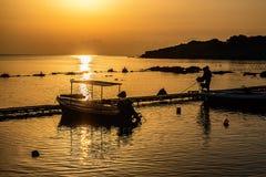 fartyg som fiskar havsseagullskyen, soars soluppgången Arkivfoto