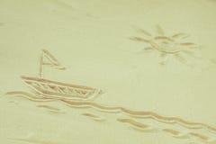 fartyg tecknad bildsand Arkivbild