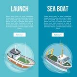 Fartygbaner på blå bakgrund vektor illustrationer