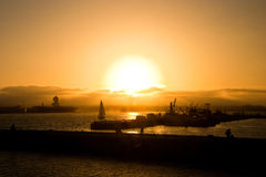 fartygdiego san solnedgång Arkivfoto