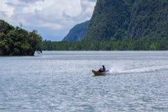 Fartyget på fjärden som omges av öar med mangrovar Fotografering för Bildbyråer