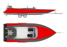 Fartyget på släpet isolerade den vita tolkningen 3d stock illustrationer