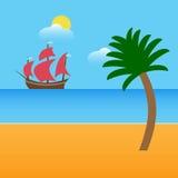 Fartyget på stranden med gömma i handflatan och moln också vektor för coreldrawillustration Royaltyfria Foton