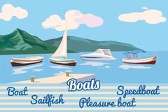 Fartyget seglar fartyget, nöjefartyget, hastighetsfartyget, seascape, vektorn, illustrationen som isoleras stock illustrationer