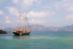 fartyggreece santorini Arkivbilder