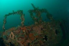 Fartyghaveri i Ambon, Maluku, Indonesien undervattens- foto Arkivfoton