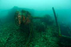 Fartyghaveri i Ambon, Maluku, Indonesien undervattens- foto Royaltyfria Bilder