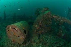 Fartyghaveri i Ambon, Maluku, Indonesien undervattens- foto Royaltyfri Fotografi